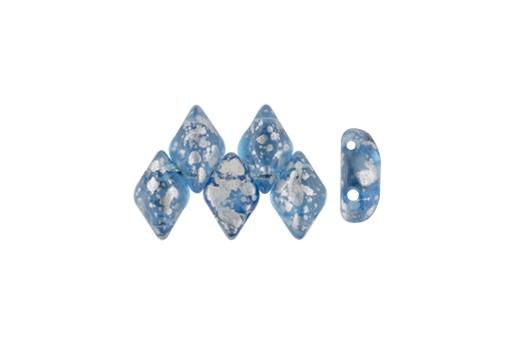 GemDuo Beads - Silver Splash Aquamarine 8x5mm - 10gr