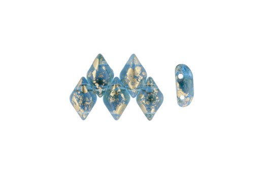 GemDuo Beads - Gold Splash Aquamarine 8x5mm - 10gr