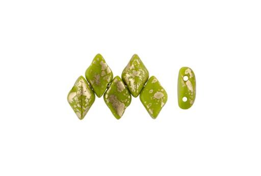 GemDuo Beads - Gold Splash Opaque Olivine 8x5mm - 10gr