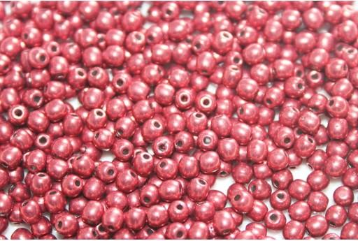 Tondi Vetro di Boemia Sueded Gold Samba Red 3mm - 100pz