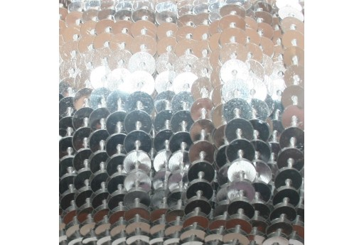 Metallic Silver Sequins Strand Smooth 6mm - 2mt
