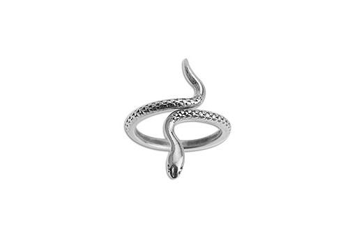 Anello Regolabile Serpente Metallo Zama - Argento 17mm