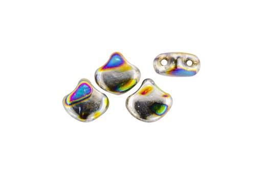 Czech Glass Ginko Beads - Batik Jet Silver Rainbow 7,5mm - 10gr