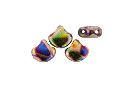 Czech Glass Ginko Beads - Batik Jet Summer Rainbow 7,5mm - 10gr