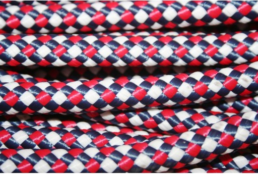 Climbing Cord Polyester White - Red - Blue 10mm - 1mt