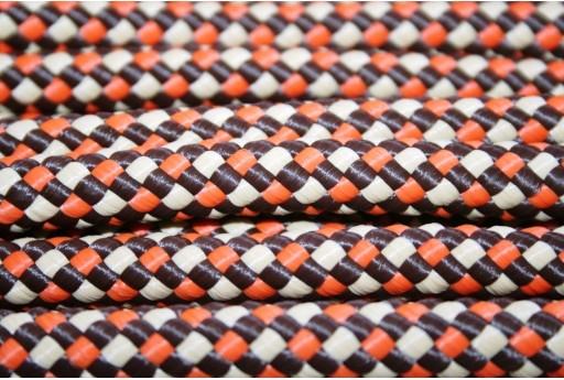 Climbing Cord Poliestere Arancio - Marrone Intrecciato 10mm - 1mt