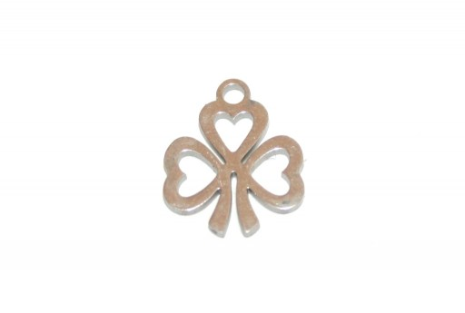 Stainless Steel Charms Clover - 13x11mm - 2pcs