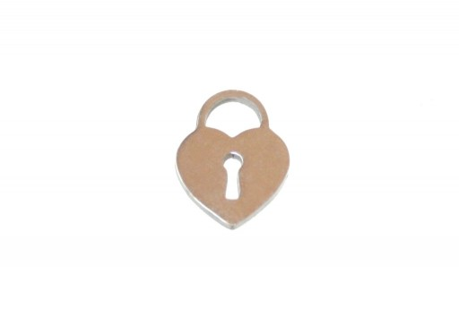 Stainless Steel Charms Heart Padlock - 13x10mm - 2pcs