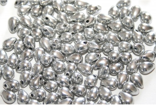 Drops Beads - Silver 4x6mm - 10g