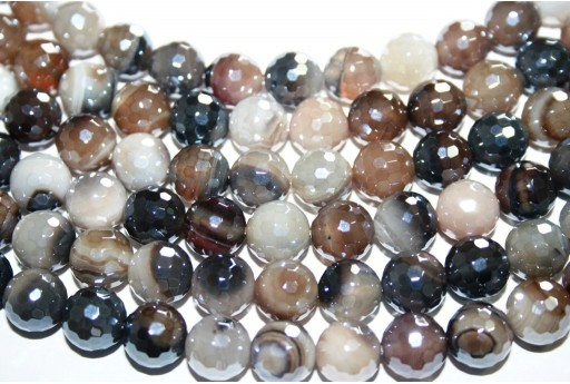 Stripe Agate Faceted Round Beads - Grey 10mm - 38pcs
