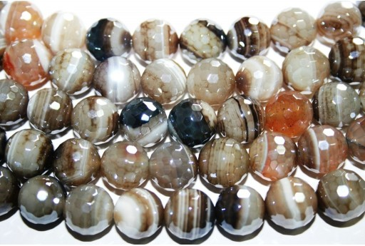 Stripe Agate Faceted Round Beads - Grey 12mm - 32pcs
