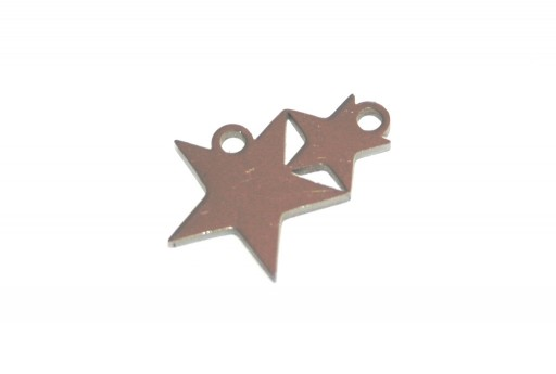 Stainless Steel Charms Duble Star - 12x17,8mm - 2pcs
