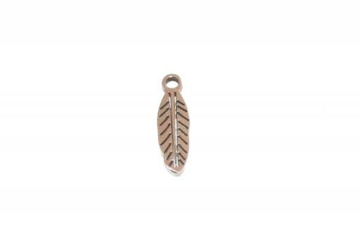Stainless Steel Charms Leaf - 12x4mm - 2pcs