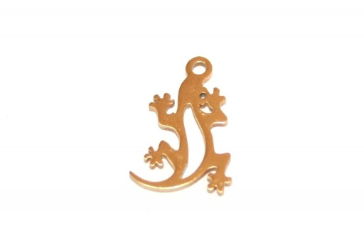 Stainless Steel Charms Lizard - Golden 16x10mm - 1pc