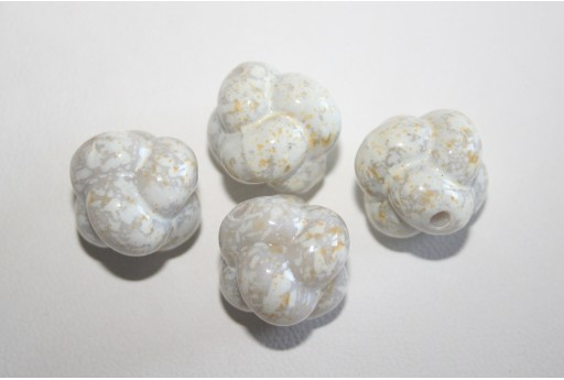 Perline Acrilico Bianco Macchiato Sfera Intrecciata 17mm - 15pz