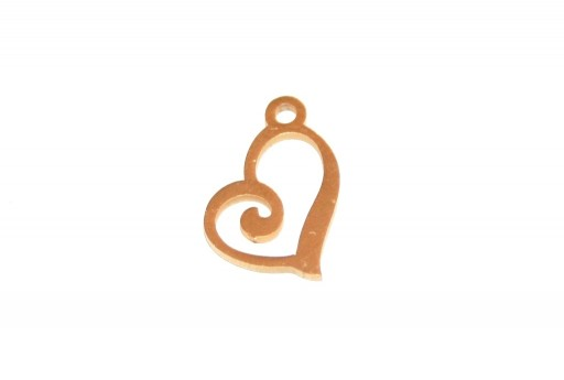 Stainless Steel Charms Heart - Golden 13x10mm - 1pc