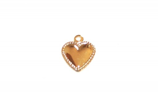 Stainless Steel Charms Heart - Golden 10x8mm - 4pcs