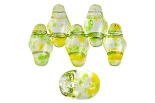 Perline Superduo Confetti Splash Yellow Green 5x2,5mm - 10gr