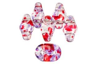Perline Superduo Confetti Splash Violet Red 5x2,5mm - 10gr