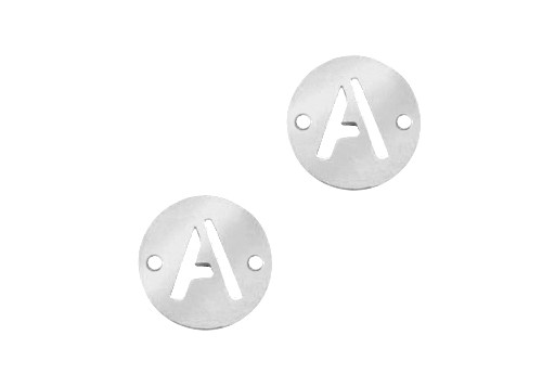 Stainless Steel Charms Connector Letter A - Platinum 12mm - 2pcs