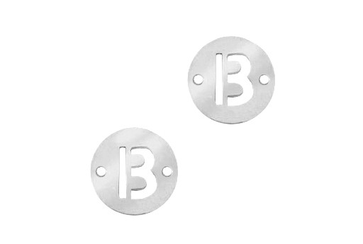 Stainless Steel Charms Connector Letter B - Platinum 12mm - 2pcs