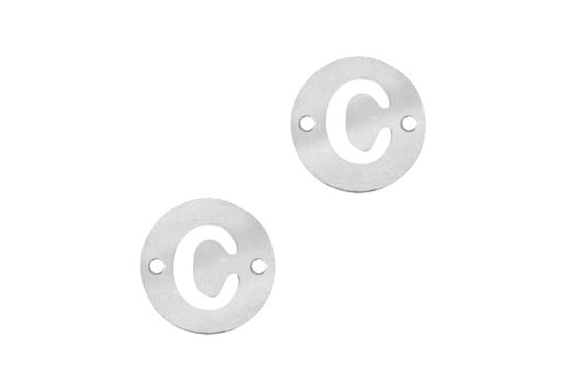 Stainless Steel Charms Connector Letter C - Platinum 12mm - 2pcs
