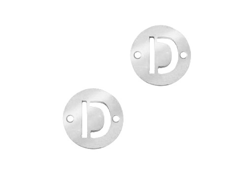 Stainless Steel Charms Connector Letter D - Platinum 12mm - 2pcs
