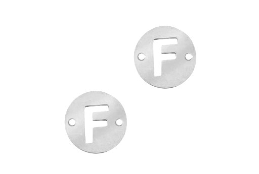 Stainless Steel Charms Connector Letter F - Platinum 12mm - 2pcs