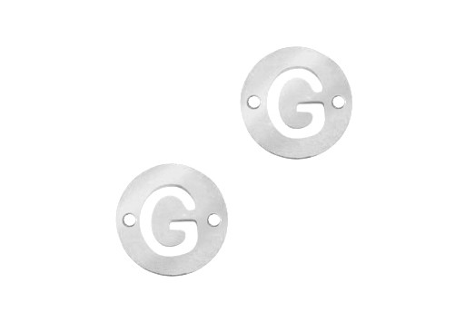 Stainless Steel Charms Connector Letter G - Platinum 12mm - 2pcs