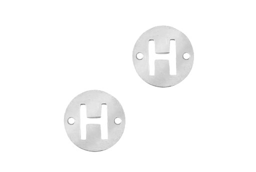 Stainless Steel Charms Connector Letter H - Platinum 12mm - 2pcs
