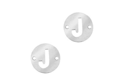 Stainless Steel Charms Connector Letter J - Platinum 12mm - 2pcs