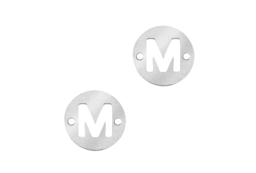 Link Acciaio Lettera M - Platino 12mm - 2pz