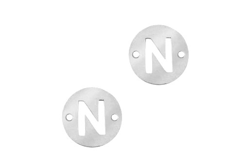 Stainless Steel Charms Connector Letter N - Platinum 12mm - 2pcs