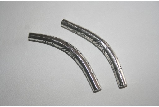 2 Tubi Curvi Argento Tibetano 43x5mm TI103