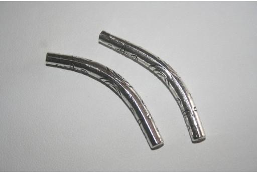 Tubi Curvi Argento Tibetano 43x5mm - 2pz