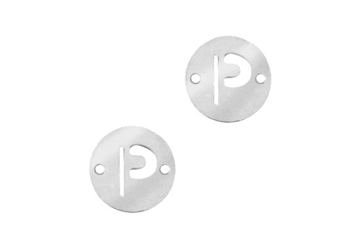 Stainless Steel Charms Connector Letter P - Platinum 12mm - 2pcs