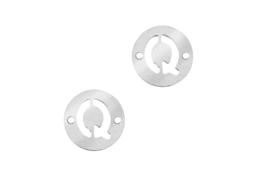 Stainless Steel Charms Connector Letter Q - Platinum 12mm - 2pcs