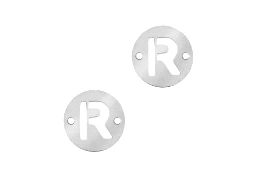 Stainless Steel Charms Connector Letter R - Platinum 12mm - 2pcs