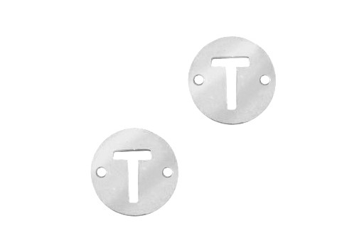 Stainless Steel Charms Connector Letter T - Platinum 12mm - 2pcs