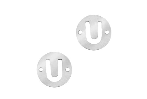 Stainless Steel Charms Connector Letter U - Platinum 12mm - 2pcs