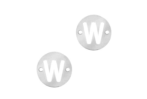 Stainless Steel Charms Connector Letter W - Platinum 12mm - 2pcs