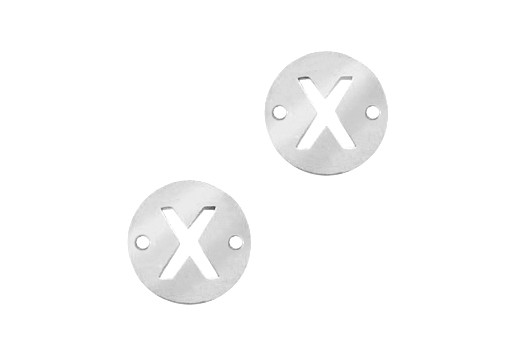 Stainless Steel Charms Connector Letter X - Platinum 12mm - 2pcs