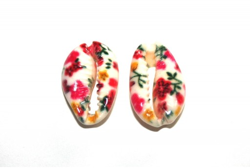 Cowrie Shell Red Flowers 20x13mm aprox. - 4pcs