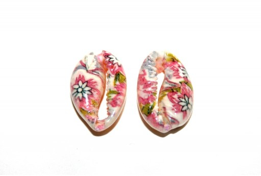 Cowrie Shell Pink Flowers 20x13mm aprox. - 4pcs