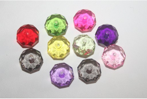 30 Acrylic Beads Transparent Faceted Rondelle 7x12mm AC23