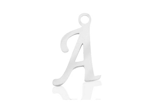 Stainless Alphabet Pendant Letter A 16mm - 1pc