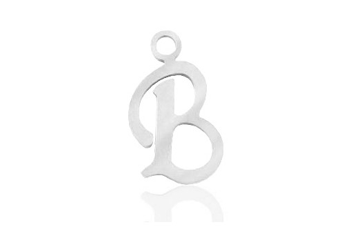 Stainless Alphabet Pendant Letter B 16mm - 1pc