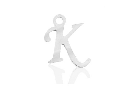 Stainless Alphabet Pendant Letter K 16mm - 1pc