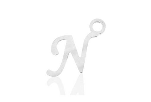 Stainless Alphabet Pendant Letter N 16mm - 1pc