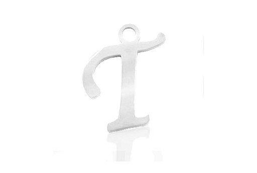 Stainless Alphabet Pendant Letter T 16mm - 1pc